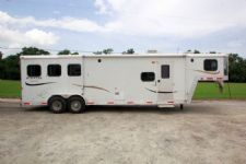 #09794 - Used 2008 Bison Stratus 7310LQ Express 3 Horse Trailer  with 10' Short Wall