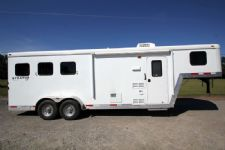 #02112 - Used 2012 Bison 7360LQ Stratus LT 3 Horse Trailer  with 6' Short Wall