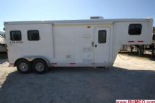 #02111 - Used 2012 Bison Stratus 7260LQ 2 Horse Trailer  with 6' Short Wall