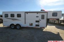 #04816 - New 2015 Bison Trail Hand 7360LQ S 3 Horse Trailer  with 6' Short Wall
