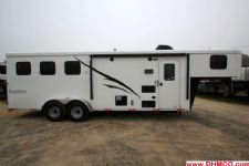 #04817 - New 2015 Bison Trail Hand 7380LQ 3 Horse Trailer  with 8' Short Wall