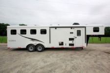 #04822 - New 2015 Bison Trail Express 7480LQ 4 Horse Trailer  with 8' Short Wall