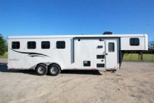 #04896 - New 2015 Bison Trail Hand 7406LQ S 4 Horse Trailer  with 6' Short Wall