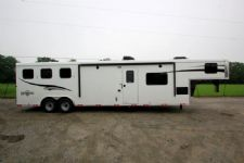 #05132 - New 2015 Bison Ranger 8314LQSD 3 Horse Trailer  with 14' Short Wall