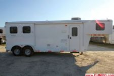 #02544 - Used 2013 Bison 7280LQ 2 Horse Trailer  with 8' Short Wall