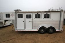#00170 - Used 2002 Sooner 7340LQ 3 Horse Trailer  with 4' Short Wall