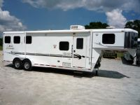 #07063 - Used 2004 Bison 7380LQ 3 Horse Trailer  with 8' Short Wall