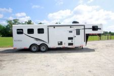 #05178 - New 2015 Bison Trail Hand 7308LQ 3 Horse Trailer  with 8' Short Wall