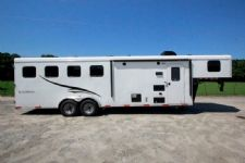 #05180 - New 2015 Bison Trail Hand 7480LQ 4 Horse Trailer  with 8' Short Wall