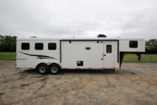 #05182 - New 2015 Bison Trail Hand 7310LQ 3 Horse Trailer  with 10' Short Wall