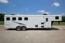 #05184 - New 2015 Bison Trail Hand 7480LQ 4 Horse Trailer  with 8' Short Wall