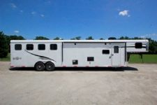 #05375 - New 2015 Bison Ranger 8414GLQBK 4 Horse Trailer  with 14' Short Wall