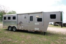 #00707 - Used 2007 American Spirit 8380LQ 3 Horse Trailer  with 8' Short Wall