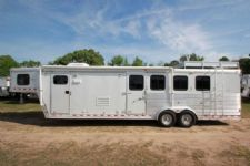 #42145 - Used 2002 Kiefer Built 7412LQ 4 Horse Trailer  with 12' Short Wall