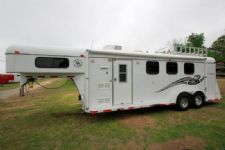 #63468 - Used 2007 Double D 7380LQ 3 Horse Trailer  with 8' Short Wall