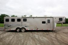#00754 - Used 2011 Bison 8410GLQ 4 Horse Trailer  with 10' Short Wall