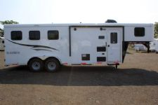 #05531 - New 2016 Bison Trail Hand 7306LQ S 3 Horse Trailer  with 6' Short Wall