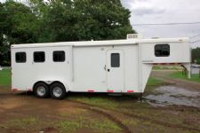 #00743 - Used 2010 Bison Trail Hand 7360LQ 3 Horse Trailer  with 6' Short Wall