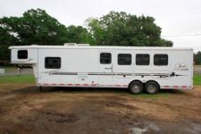 #07580 - Used 2005 Bison 8410 LQ 4 Horse Trailer  with 10' Short Wall