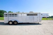 #00263 - Used 1991 Superior Aluminum Trailer 3HGN Stock Trailer  with 8' Short Wall