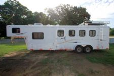 #09779 - Used 2008 Bison 7480LQTE 4 Horse Trailer  with 8' Short Wall