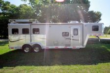 #00652 - Used 2010 Bison Stratus 7380GLQ 3 Horse Trailer  with 8' Short Wall