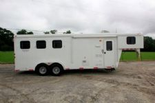 #03399 - Used 2014 Bison 7360LQ 3 Horse Trailer  with 6' Short Wall