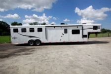 #05484 - New 2015 Bison Ranger 8414LQSD 4 Horse Trailer  with 14' Short Wall