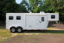 #03856 - Used 2014 Bison 7260LQ 2 Horse Trailer  with 6' Short Wall