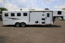 #05665 - New 2016 Bison Trail Hand 7408LQ 4 Horse Trailer  with 8' Short Wall