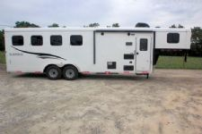 #05685 - New 2016 Bison Trail Hand 7406LQ S 4 Horse Trailer  with 6' Short Wall