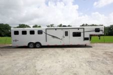 #05485 - New 2015 Bison Ranger 8414LQSD 4 Horse Trailer  with 14' Short Wall
