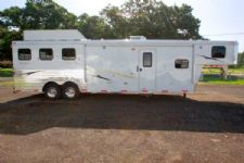 #02152 - Used 2012 Bison 8312LQ 3 Horse Trailer  with 12' Short Wall