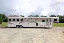 #02738 - Used 2013 Bison 8417GLQ 4 Horse Trailer  with 16' Short Wall