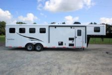 #05666 - New 2016 Bison Trail Hand 7408LQ 4 Horse Trailer  with 8' Short Wall