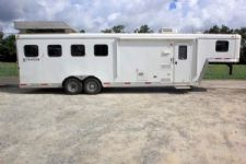 #03397 - Used 2014 Bison 7480LQ 4 Horse Trailer  with 8' Short Wall