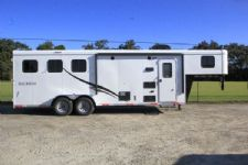 #05838 - New 2016 Bison Trail Hand 7308LQ 3 Horse Trailer  with 8' Short Wall