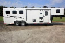 #05840 - New 2016 Bison Trail Hand 7308LQ 3 Horse Trailer  with 8' Short Wall