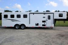 #06128 - New 2016 Bison Trail Hand 7408LQ 4 Horse Trailer  with 8' Short Wall