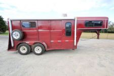 #97631 - Used 1998 Big Valley 2HSL 2 Horse Trailer  with 4' Short Wall