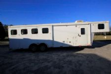 #01432 - Used 2012 Bison 7408LQ 4 Horse Trailer  with 8' Short Wall