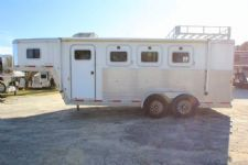 #23267 - Used 2003 Exiss XT300  Goose Neck 3 Horse Trailer  with 4' Short Wall
