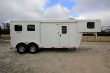 #03733 - Used 2014 Bison 7260LQ 2 Horse Trailer  with 6' Short Wall