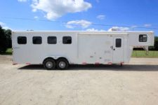 #03992 - Used 2014 Bison 7480LQ 4 Horse Trailer  with 8' Short Wall