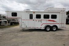 #04854 - Used 2002 Bison 7380LQ 3 Horse Trailer  with 8' Short Wall
