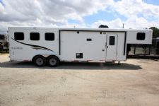 #06417 - New 2016 Bison Trail Hand 7310LQTO 3 Horse Trailer  with 10' Short Wall