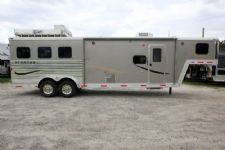 #00878 - Used 2011 Bison 7310LQ Stratus Express 3 Horse Trailer  with 10' Short Wall