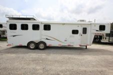 #00196 - Used 2009 Bison 7480LQ Trail Express 4 Horse Trailer  with 8' Short Wall