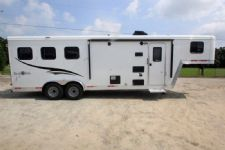 #06557 - New 2016 Bison Trail Boss 7308LQ 3 Horse Trailer  with 8' Short Wall