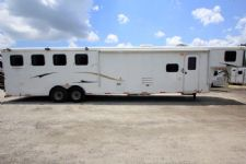 #03813 - Used 2014 Bison 8414LQBK Ranger 4 Horse Trailer  with 14' Short Wall